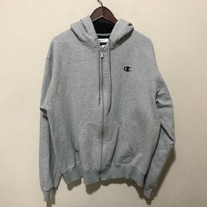 Champion Gray Front Zip Hoodie Size Large